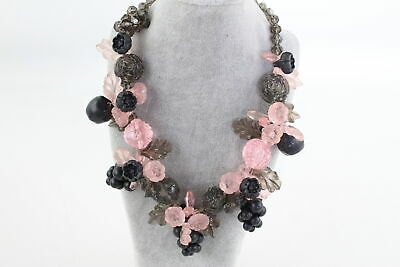 Retro 1950s Kitsch Style NECKLACE w/ Pink & Brown Floral Spray