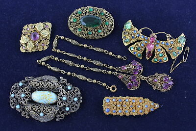 6 x Exceptional Vintage PEKING & CZECH GLASS JEWELLERY, inc. Lovely Necklace