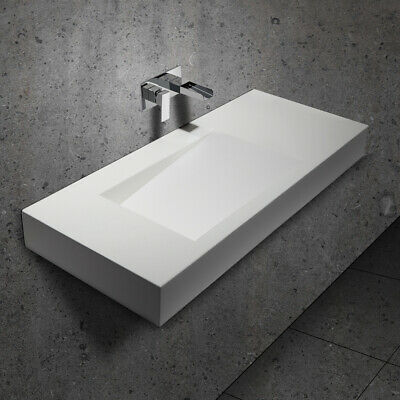 """47"""" Rectangular Glossy White Stone Resin Wall-Mount Bathroom Sink with Drain"""