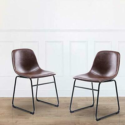 Rfiver Vintage Dining Chairs with Antique Brown PU Leather Seat and Black Sturdy