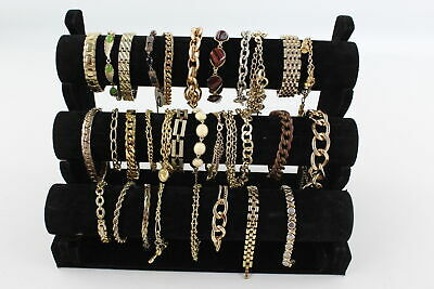 30 x Vintage & Retro Gold Tone BRACELETS inc. Statement, Enamel, Stone Set