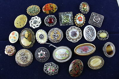 25 x Vintage & Retro BROOCHES inc. Portrait, Stone Set, Gemstone