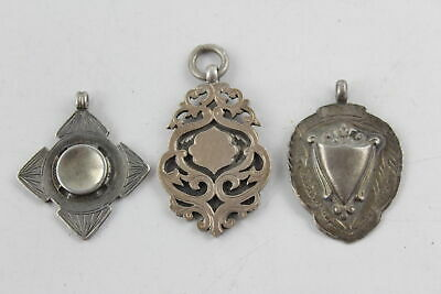3 x Vintage / Antique Hallmarked .925 Sterling Silver FOBS inc Gold Detail (19g)