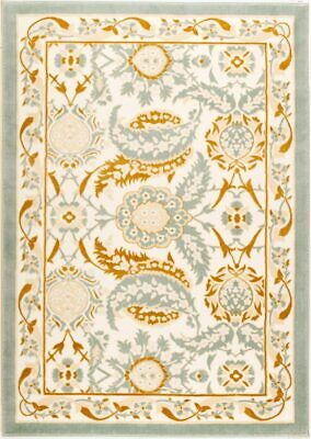 Traditional Abstract Pattern European Beige Blue White Area Rug Carpet BVY1148