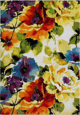 Contemporary Painting Flowers Style Area Rug Carpet in Multicolor FKDS1059