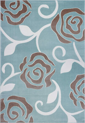 Rose Pattern Abstract Area Rug Carpet in Light Blue 4x6 5x8 7x10 8x11 BVY1151