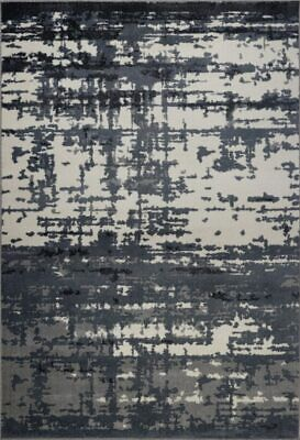 Barrie Durable Abstract Turkish Area Rug Carpet in Grey-Ivory BAR1319