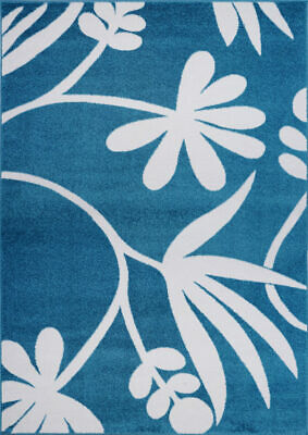 Botanical Style Creative Indoor Area Rug Carpet in Blue and Cream FKDS1052
