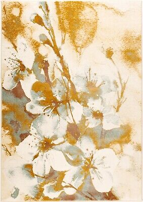 Painting Flowers Style Beige and Cream Abstract Area Rug Carpet BVY1153