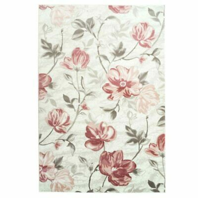 Begonia Floral Pattern Area Rug Carpet in Red Cream 4x6 5x8 7x10 8x11 BGN1049