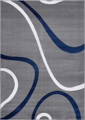 Turkish Spiral Contemporary Gray Blue Mat Runners Area Rug Carpet GRY1032