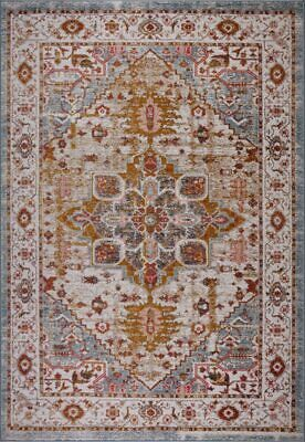 Gracie Traditional Design Durable Mat Area Rug Carpet in Beige Teal BAN1326
