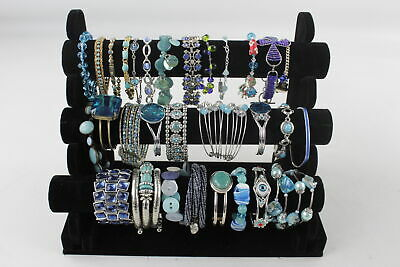 30 x Vintage & Retro Blue Themed BRACELETS AND BANGLES Stone Set, Glass, Mixed