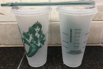 Starbucks 2019 LOT Of 2 Mermaid Siren Frosted Reusable Cold Cup Tumbler