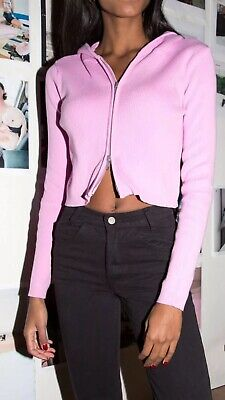e37397818ed Brandy melville crop bubblegum pink ribbed Knit Arden hoodie jacket NWT sz S