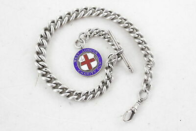 Vintage .925 STERLING SILVER Heavy Graduated Albert Chain w/ Fob (93g)