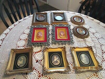 Vintage Lot Small Pictures- Gold. Metal, Wood, Etc - Nine In Lot