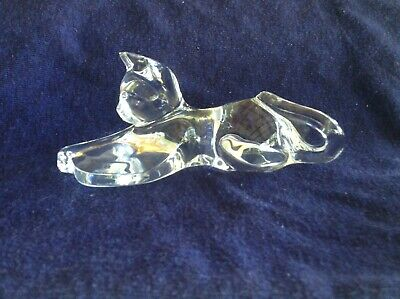Baccarat Egyptian Stretching Crystal Glass Cat Figurine