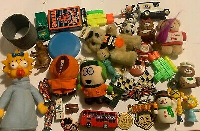 US And UK Junk Drawer Lot Simpsons South Park Oxford Diecast Leyland Slinky Pins