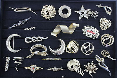 25 x Vintage & Retro Gold Tone BROOCHES inc. Rhinestone, Crescent Moon, Stars
