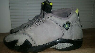 1b45001d6f6 2005 AIR JORDAN XIV 14 RETRO SIZE 9 LT GRAPHITE/CHARTREUSE-BLACK used