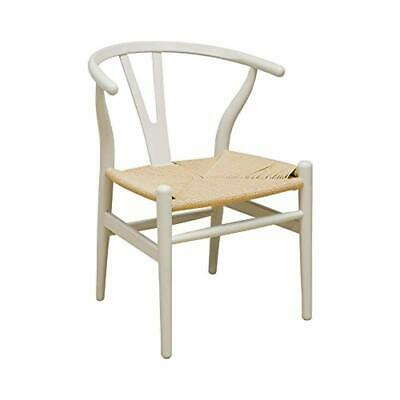 Ergo Furnishings Mid-Century Modern Wishbone Wood Dining Accent Chair, Ivory