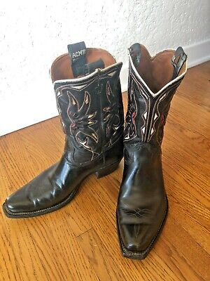 5547dd0232d VINTAGE ACME LEATHER Inlay Cloth Pulls Pee Wee Cowboy Boots Size 7 ...