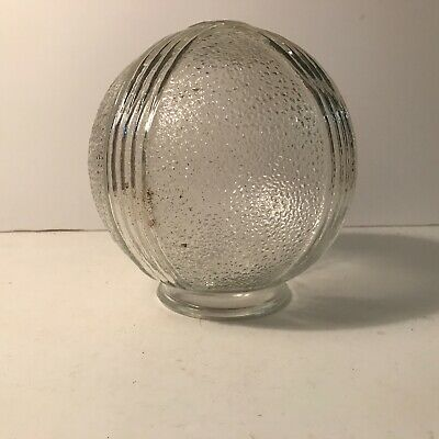 Antique clear glass Art Deco shade globe ceiling light fixture 3 1/4 inch fitter