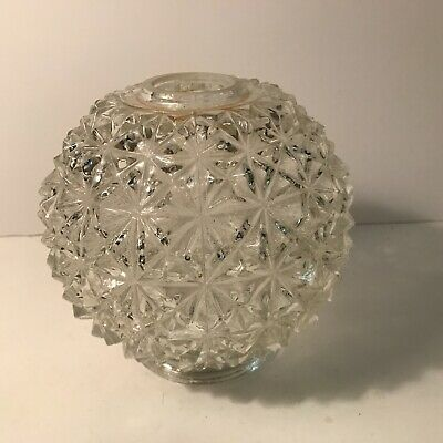 Antique clear glass Art Deco shade globe ceiling light fixture 4 inch fitter