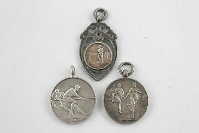 3 x Vintage / Antique Hallmarked .925 Sterling Silver SPORTING FOBS (28g)