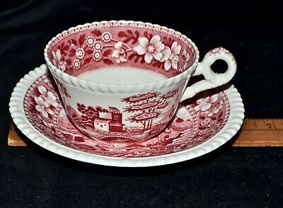 Vintage 1930s Copeland Spode's Tower China Pink Red Cups & Saucers MINT England
