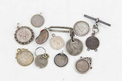 10 x Vintage / Antique .925 Sterling Silver Set COIN PENDANTS, Love Tokens (29g)