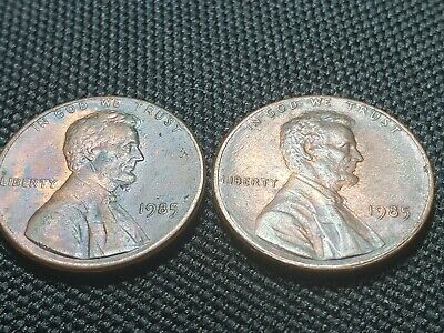 Lot of (2)1985 Lincoln Memorial Cent toned- 1c penny Colorful Toning. U.S. coins