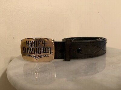 Vintage Brown Leather HARLEY DAVIDSON DISTRESSED BELT SIZE 34 Harley Buckle Type