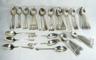 50 Soup Spoons Lot Silverplate Tablespoons ONEIDA ROGERS EPNS Re-sell or CRAFT