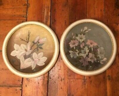 2 Early 20th C Convex Circular Oil / Plaster Floral Still-life Paintings 13.5""