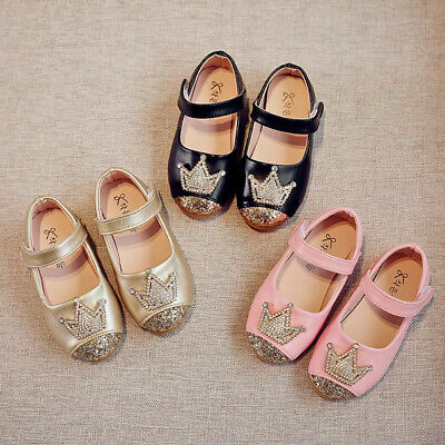 Infant Child Girls Baby Beading Sweet Princess Crown Sandals Single Shoes