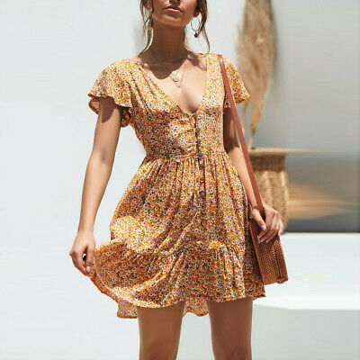 Womens Boho Floral Summer Party Evening Beach Short Sexy Mini Skirt Sundress