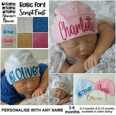 Baby Beanie Hat Personalised Cap Newborn 3-6 months baby shower gift custom name