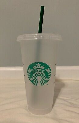 Starbucks Mermaid Reusable Frosted Plastic Cold Cup Rainbow Straw Tumbler 24 oz