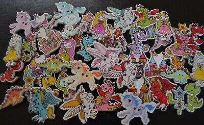 50 Bulk Unicorn Princess Dragon Castle Buttons Scrapbooking Embellishment Quilt