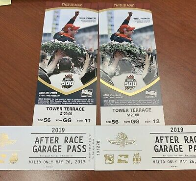 2 2019 Indy 500 Tickets TOWER TERRACE Sec 56 Row GG w Garage Passes BELOW FACE
