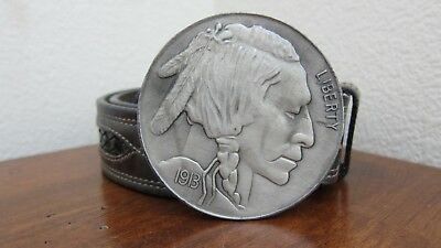 Vintage Belt & Buckle Indiana Metal Craft AC13 Indian Head Buffalo Nickel Coin ~