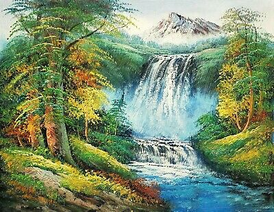 08ac267c7 Waterfall Landscape, 12x16 100% Hand painted Oil Painting on Canvas,
