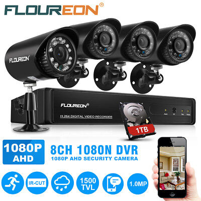 FLOUREON 1 X 8CH 1080P 1080N AHD DVR+4 X 1500TVL 720P Camera sécurité + 1TB HDD