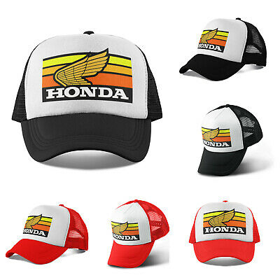 40eb6df5 New 1980's Honda Motocross Trucker Hat Mesh Hat Snap Back Hat Black Red  Vintage