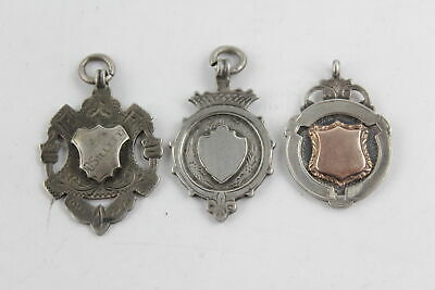 3 x Vintage / Antique Hallmarked .925 Sterling Silver FOBS inc Gold Detail (28g)