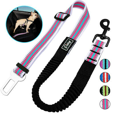 No Pull Elastic Bungee Safety Dog Car Seat Belt Restraint Leash Clip for Travel
