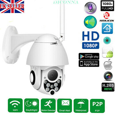 1080P WIFI IP HD Camera WHITE Wireless Outdoor CCTV  Home Security IR Cam 2MP UK