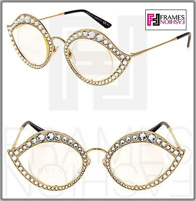 33afbd628795 GUCCI LIPS CRYSTAL Sunglasses 4287 Cat Eye Gold Metal Frame RX Glasses 0046